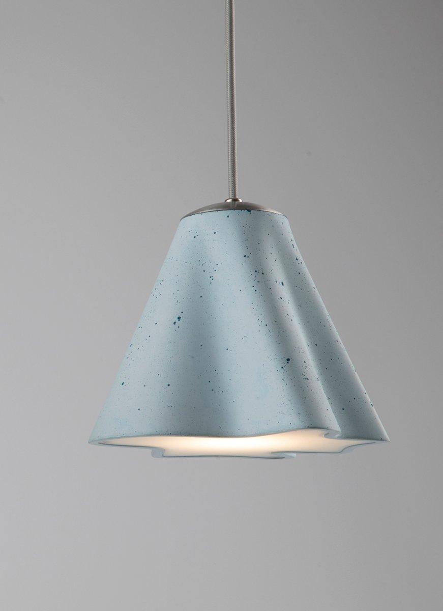 Blue Concrete Stem Pendant Lamp by Dror Kaspi for Ardoma Studio