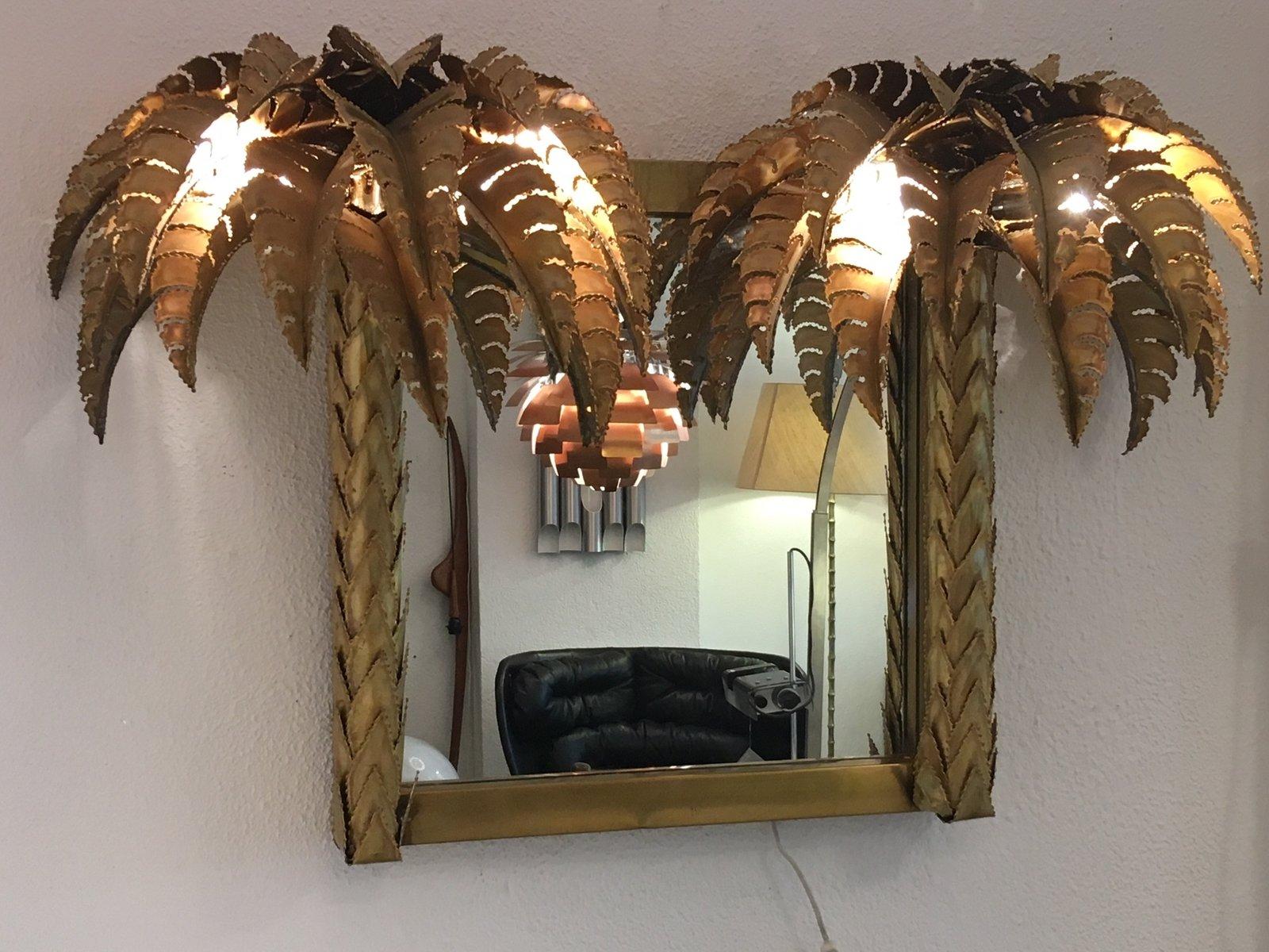 Spiegel mit Rahmen in Palmen-Optik & Beleuchtung von Maison Jansen, 19...