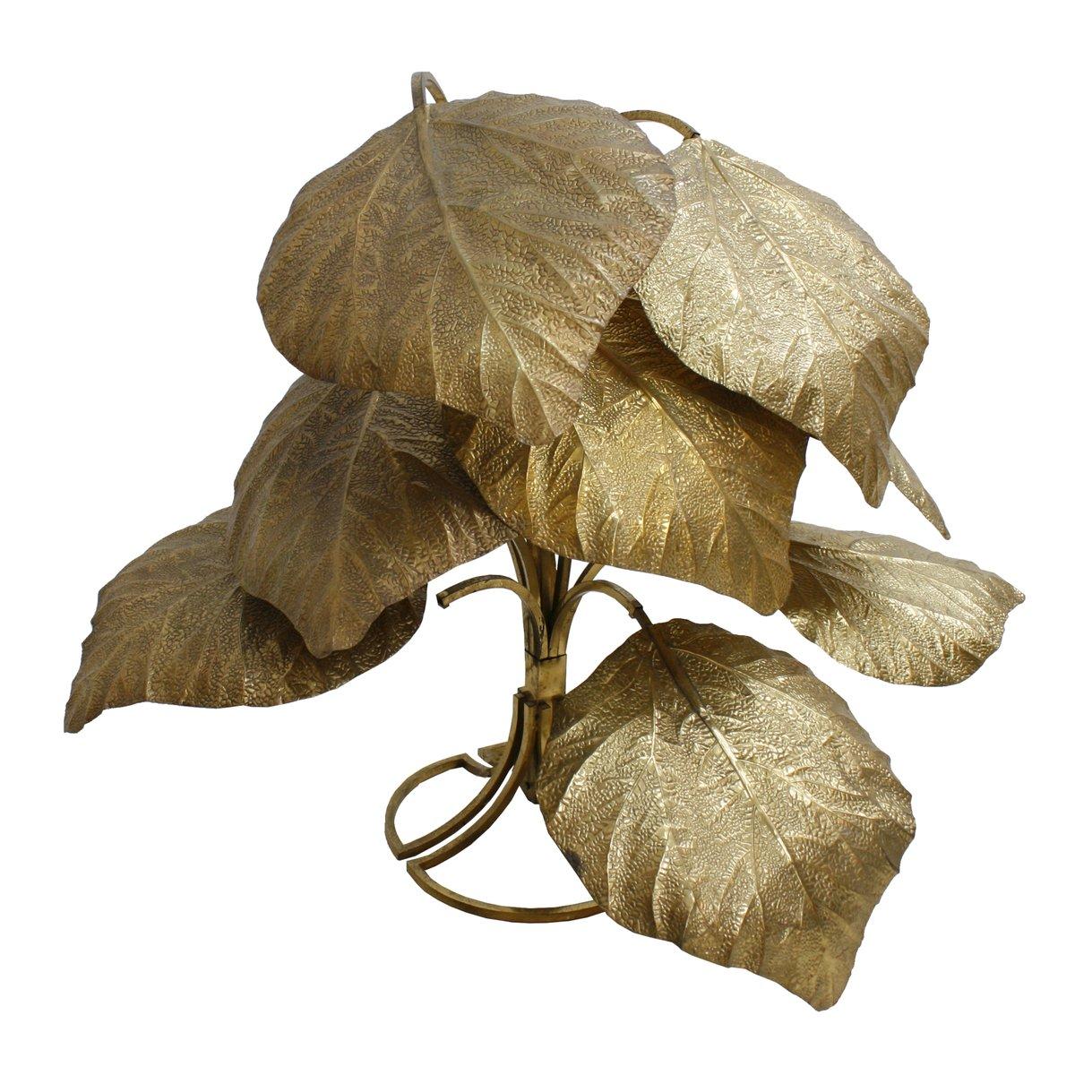 Italienische Stehlampe aus Messing in Blätter-Optik von Tommaso Barbi,...