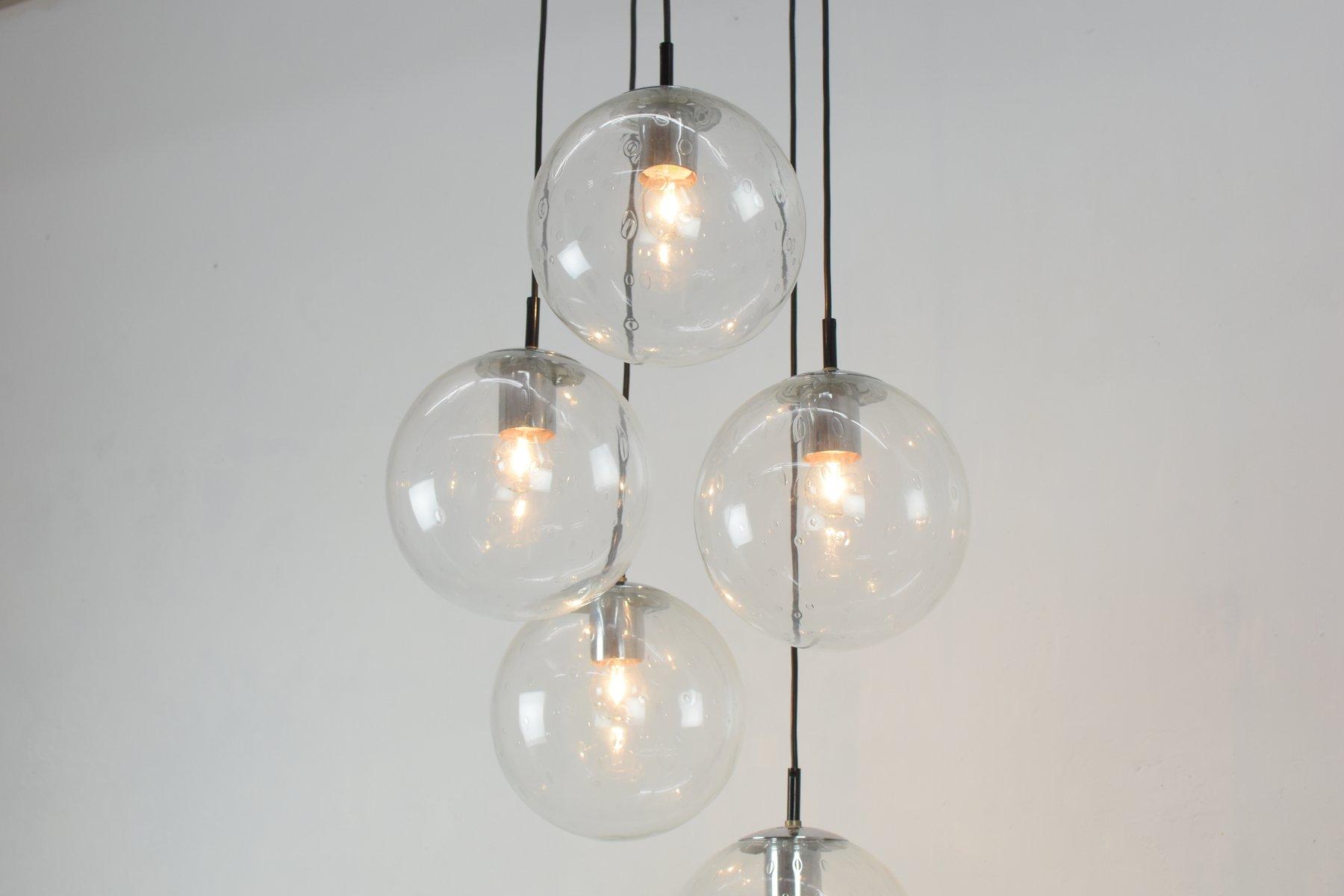 Niederl ndische deckenlampe aus metall glas mit 5 kugeln von raak 1970er bei pamono kaufen - Glas mit kugeln dekorieren ...