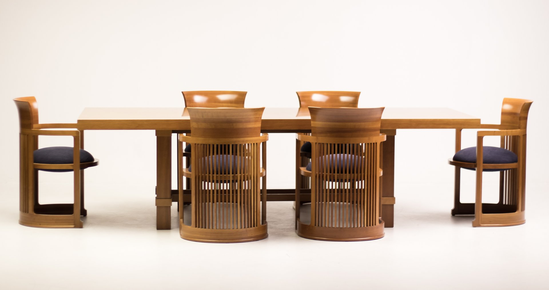 Dining Table And Barrel Chairs By Frank Lloyd Wright For Cina 1986