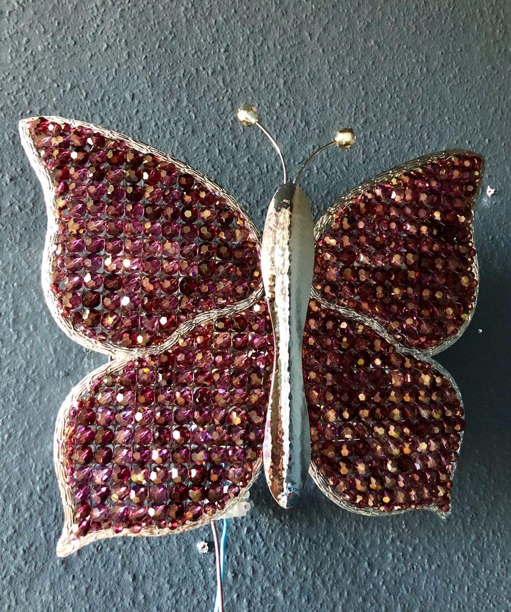 Wandlampe mit Kristallperlen in Schmetterlings-Optik von Palwa, 1970er