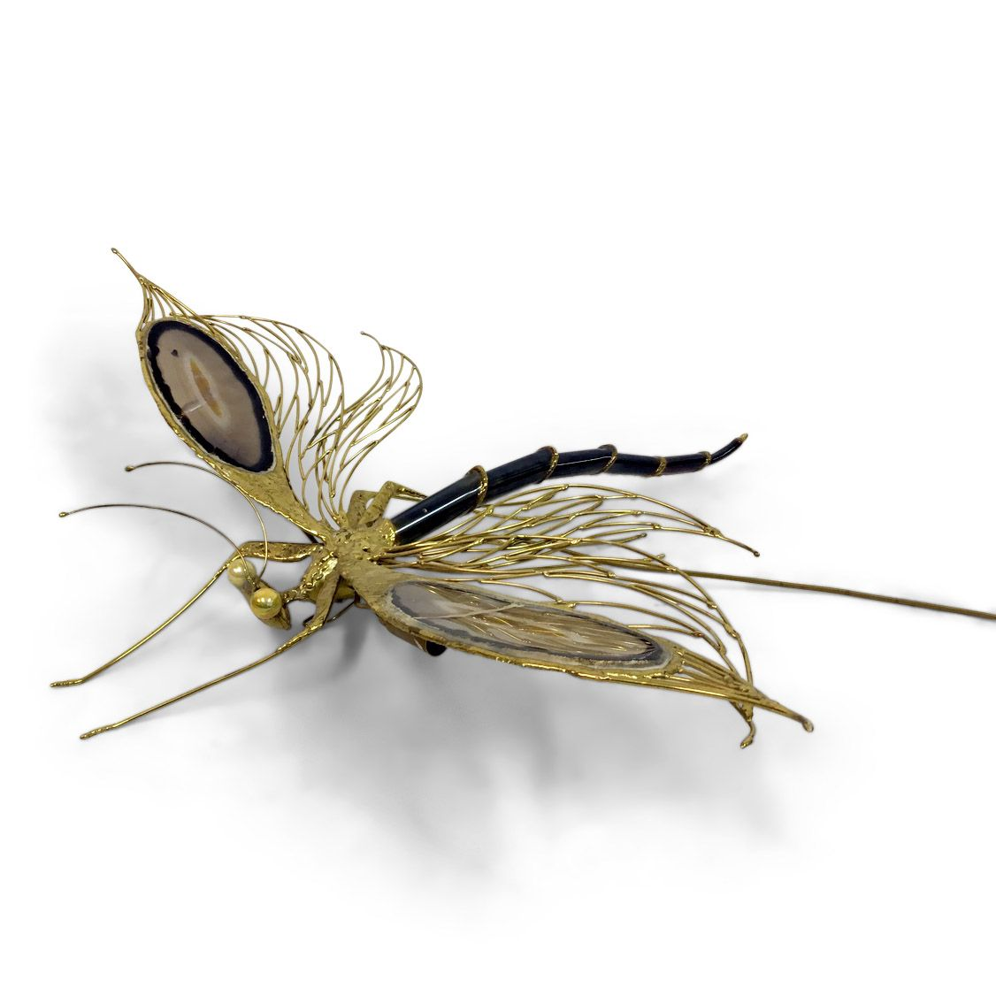 Vintage Lampe aus vergoldetem Messing & Achat in Libellen-Optik