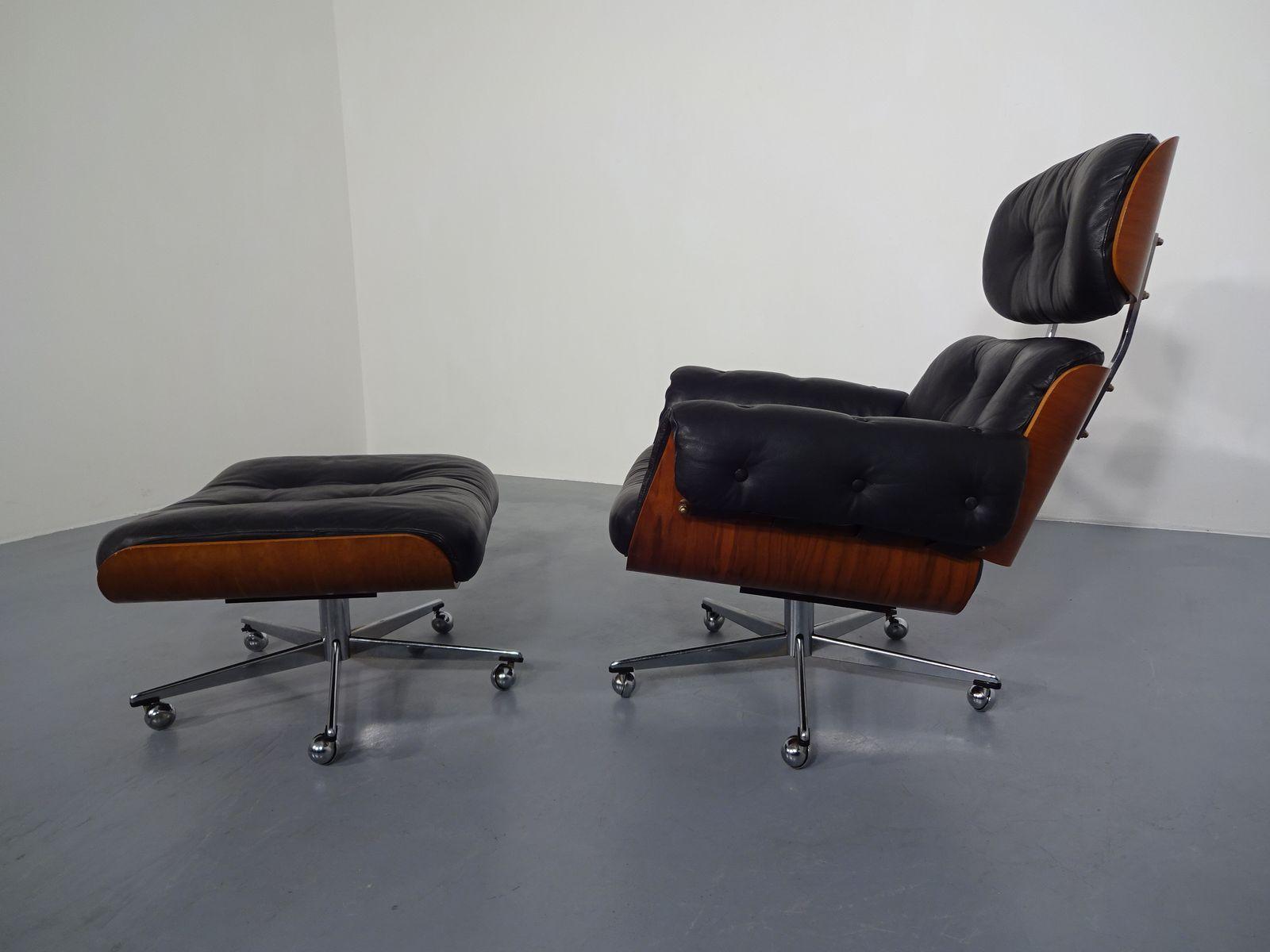 schweizer lederstuhl fu hocker set aus palisander von martin stoll f cafe konrad vib. Black Bedroom Furniture Sets. Home Design Ideas