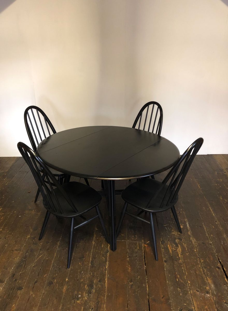 Mid Century Black Elm Drop Leaf Extending Dining Table 4 Chairs From Ercol