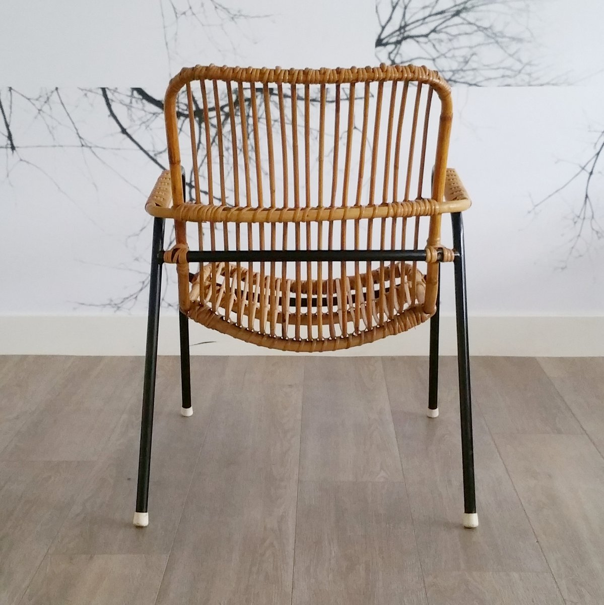 Vintage Stuhl Aus Rattan & Metall 1950er Bei Pamono Kaufen