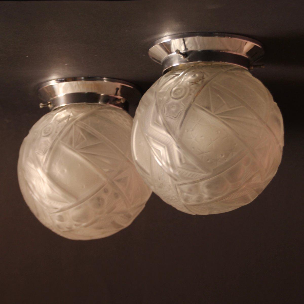 Französische Art Deco Deckenlampen von Muller Frères, 1920er, 2er Set