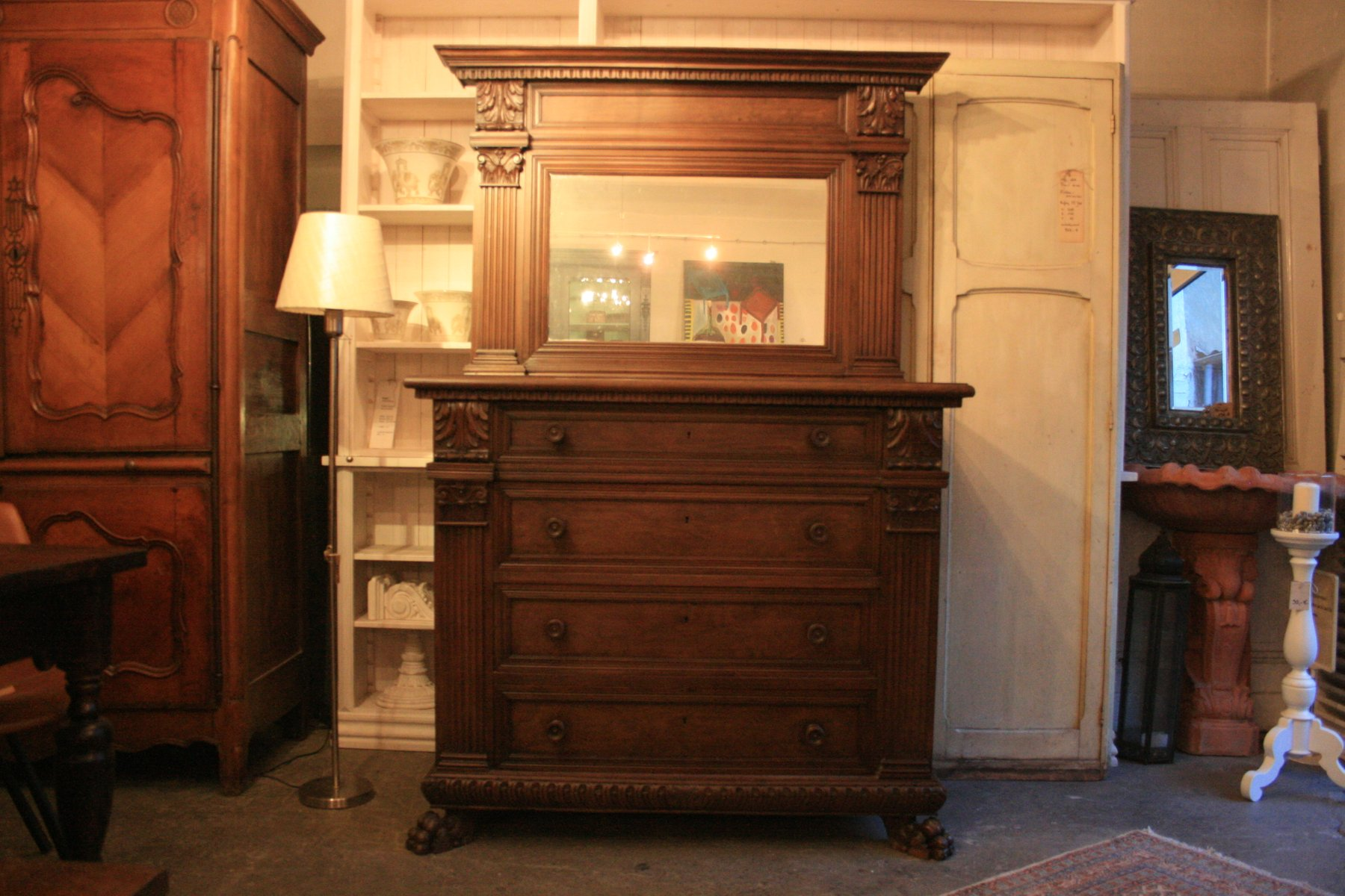 Large Italian Walnut Chest of Drawers with Mirror Top, 1900s