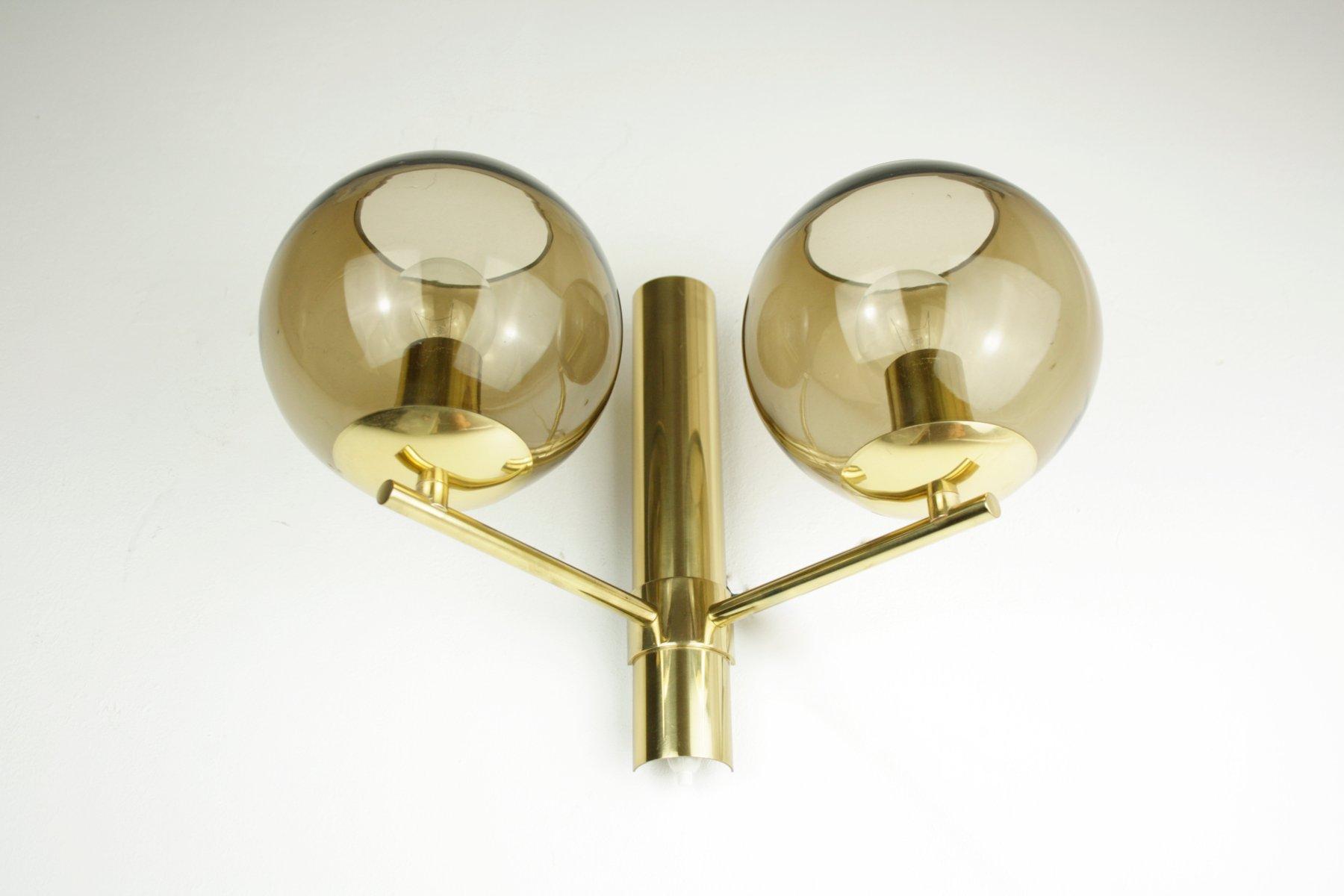 Zweiflammige schwedische Mid-Century Wandlampe, 1960er