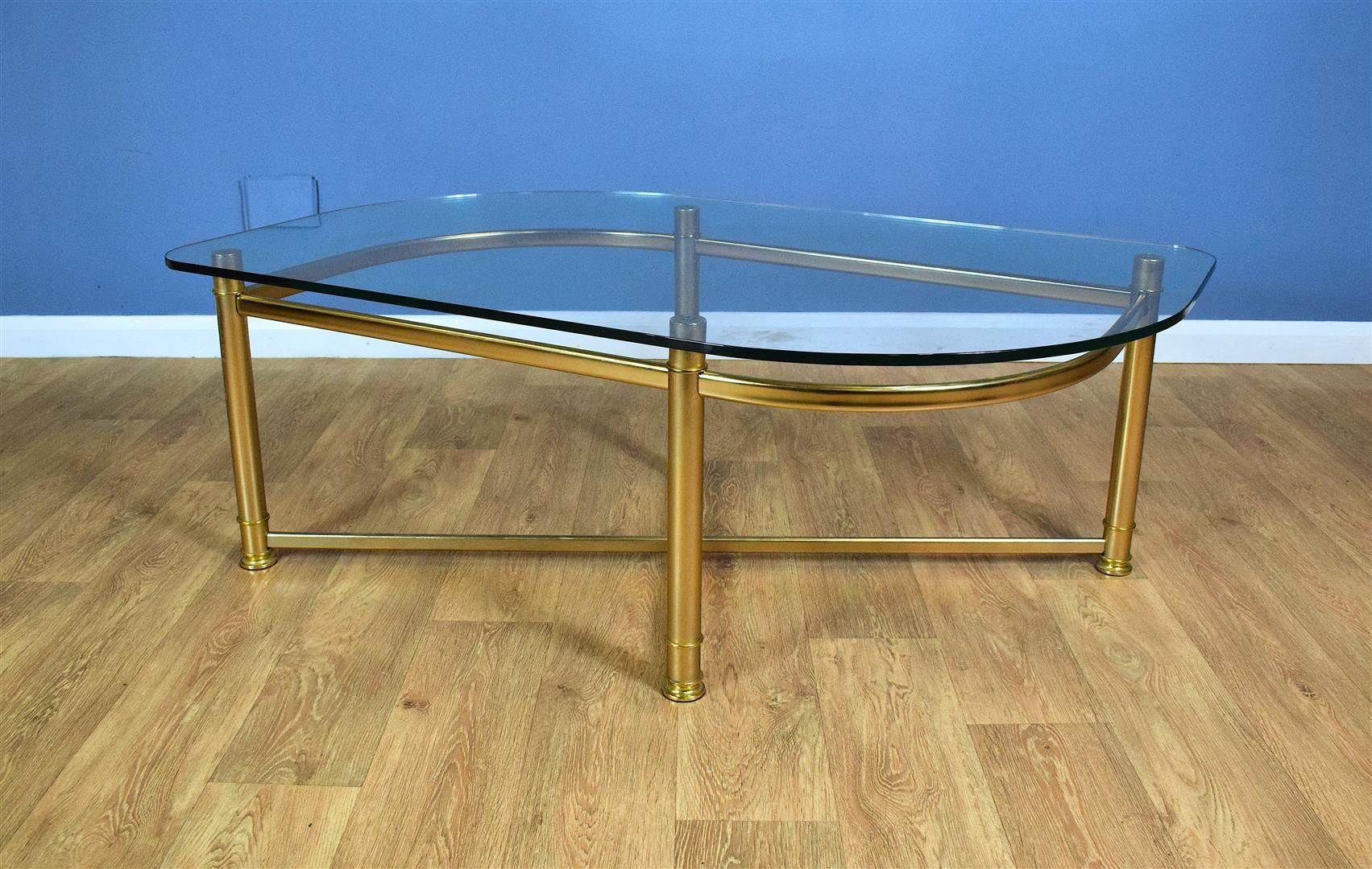 Large Curved German Gold Metal & Glass Coffee Table, 1980s