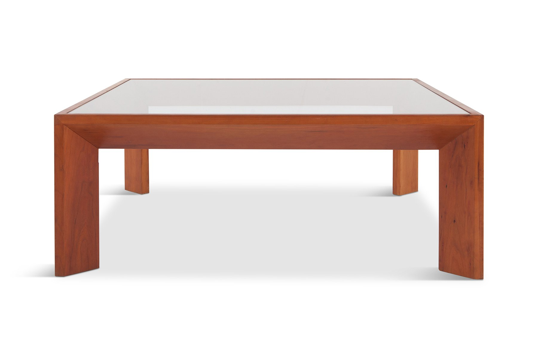 Square Mid Century Modern French Coffee Table In Elm