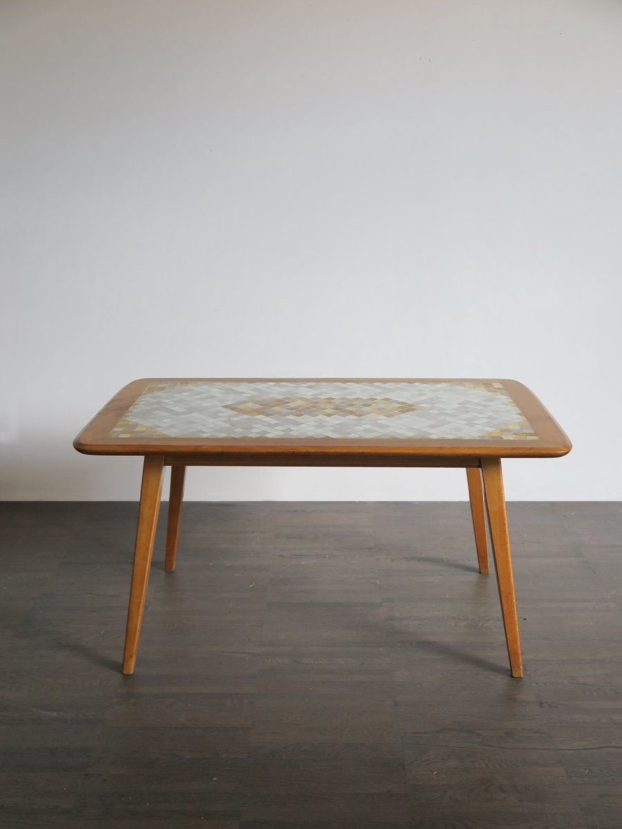 Swiss Coffee Table with Mosaic Top, 1950s