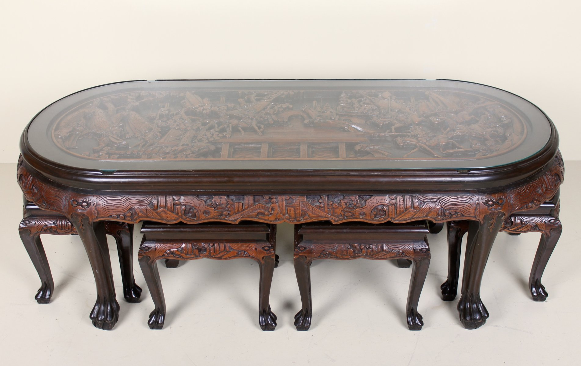 Vintage Hand Carved Chinese Coffee Table With 6 Stools