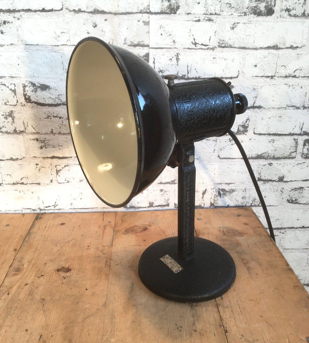 Emaillierte industrielle Tischlampe in Schwarz, 1950er