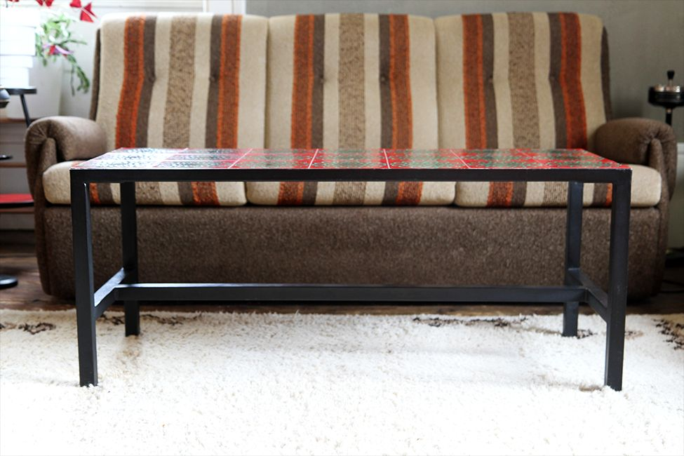 French Coffee Table in Metal and Ceramic, 1960s