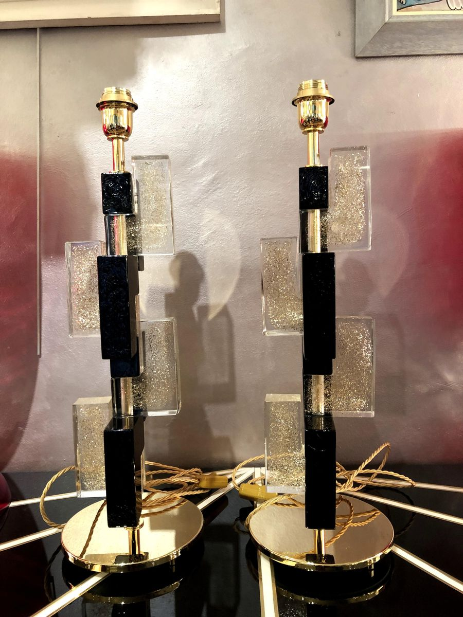 Murano Glass Lamps, 1980s, Set of 2
