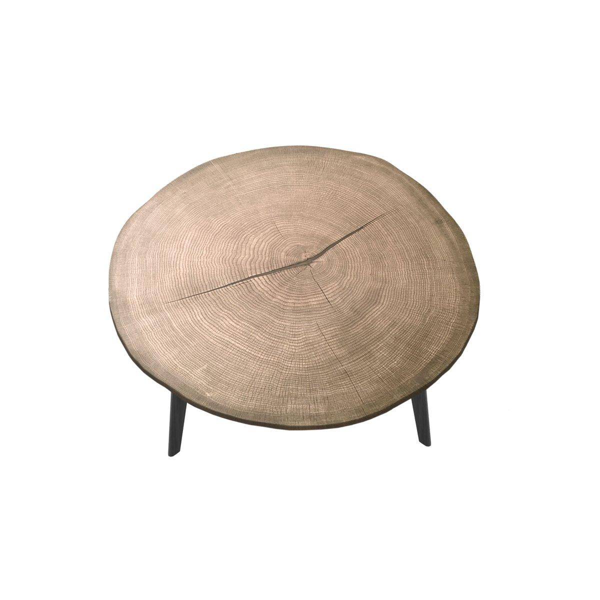 Großer LESCA Couchtisch mit Tischplatte aus natürlicher Eiche & schwar...