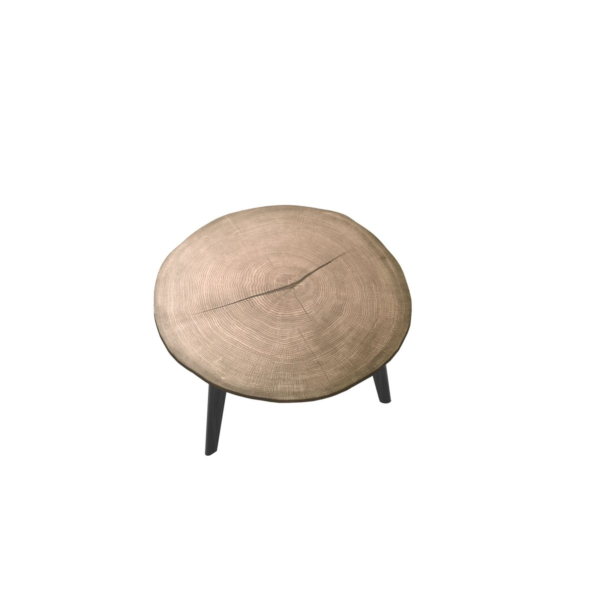 Medium LESCA Coffee Table with Natural Walnut Top & Black Oak Feet by ...
