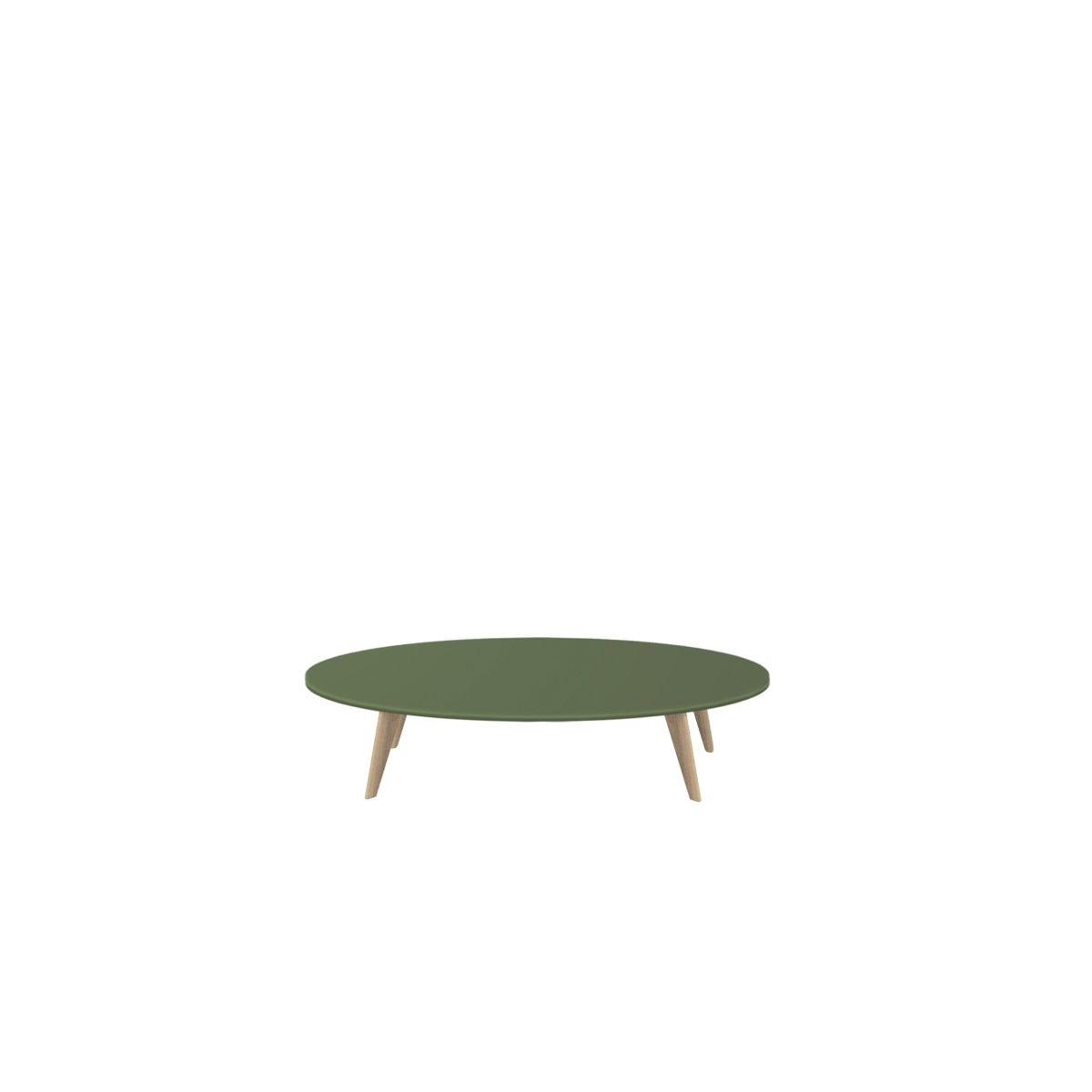 Extra großer BIDULE Couchtisch mit grün lackierter Tischplatte & natür...