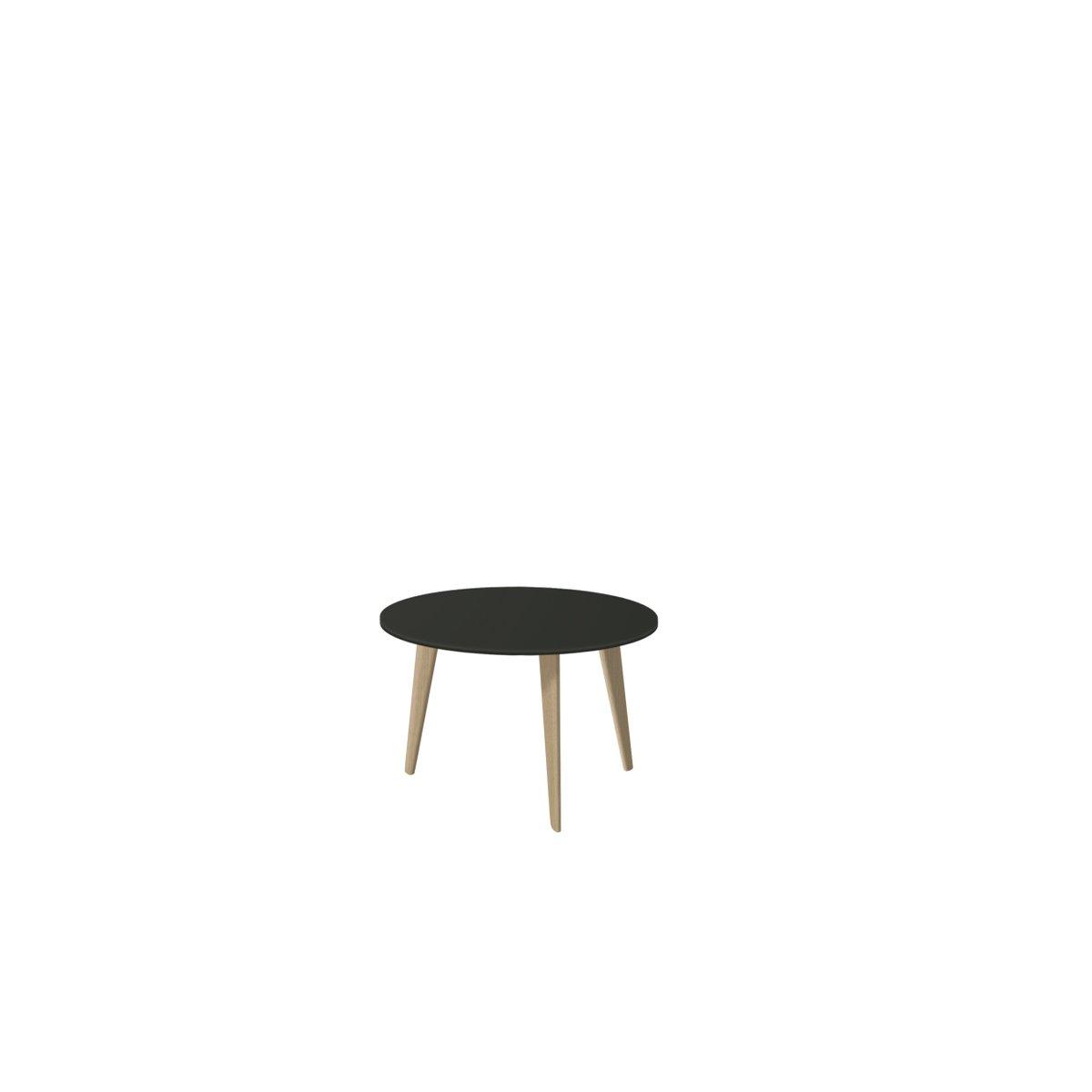 Medium BIDULE Coffee Table with Black lacquered Top & Natural Oak Feet...