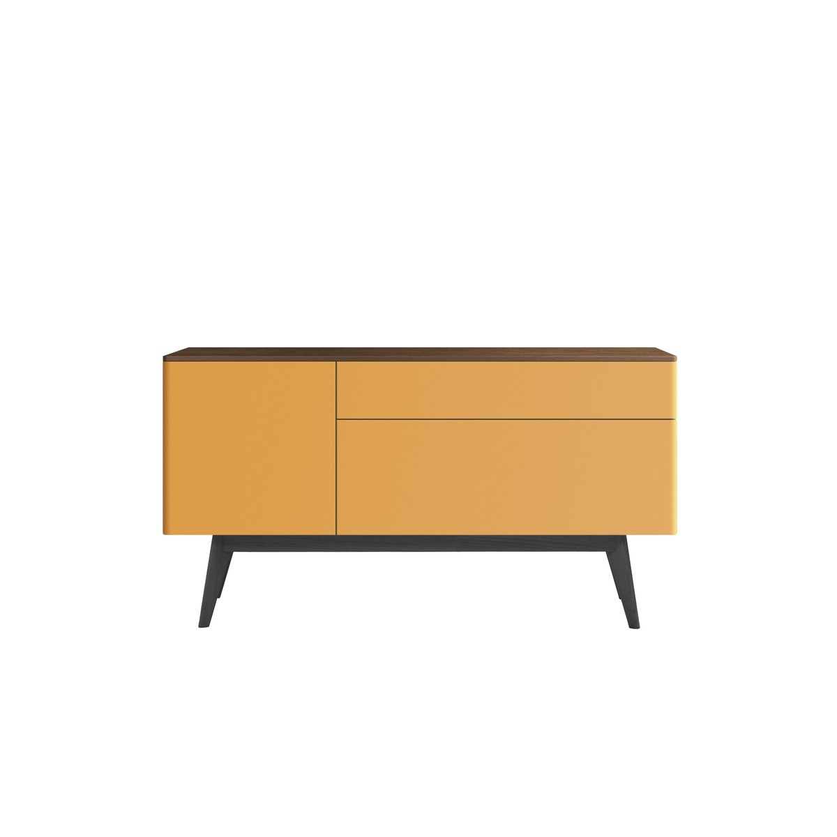 TRIO Yellow Lacquered Sideboard with Black Oak Top & Feet by Henri Tuj...