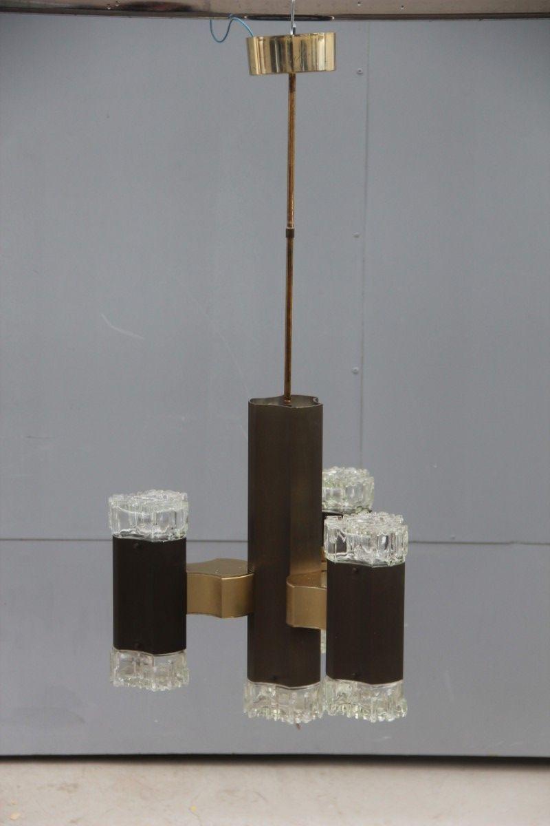 Bronzierter Kronleuchter aus Aluminium von Gaetano Sciolari, 1970er