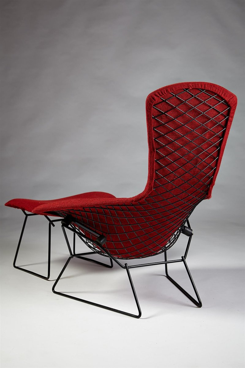 Bird Chair With Footstool By Harry Bertoia For Knoll International 1950s