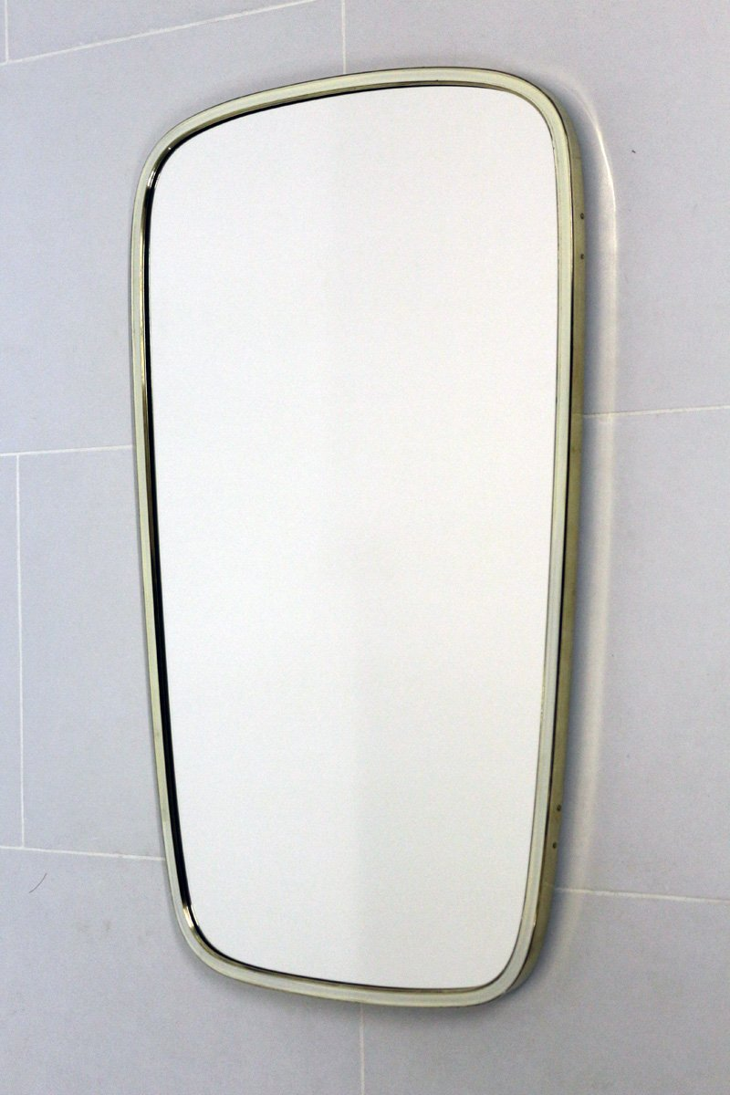 Vintage Brass Mirror With White Gold Frame From Lachmayr 1950s
