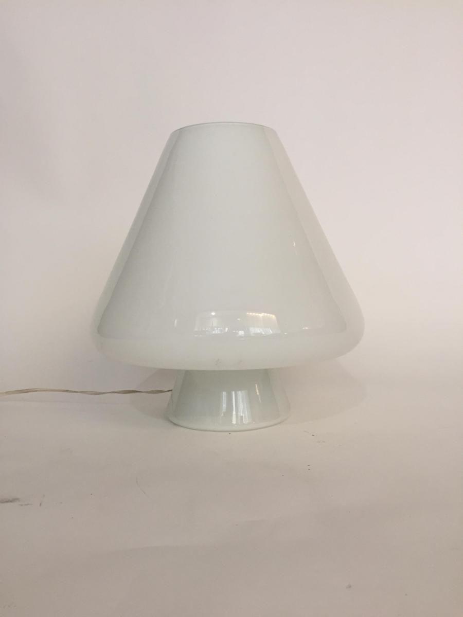 Große weiße Lampe aus Muranoglas, 1970er