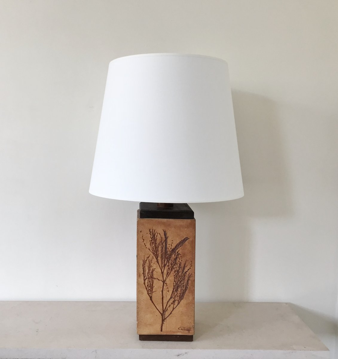 Große Lampe aus Steingut von Raymonde Leduc, 1970er