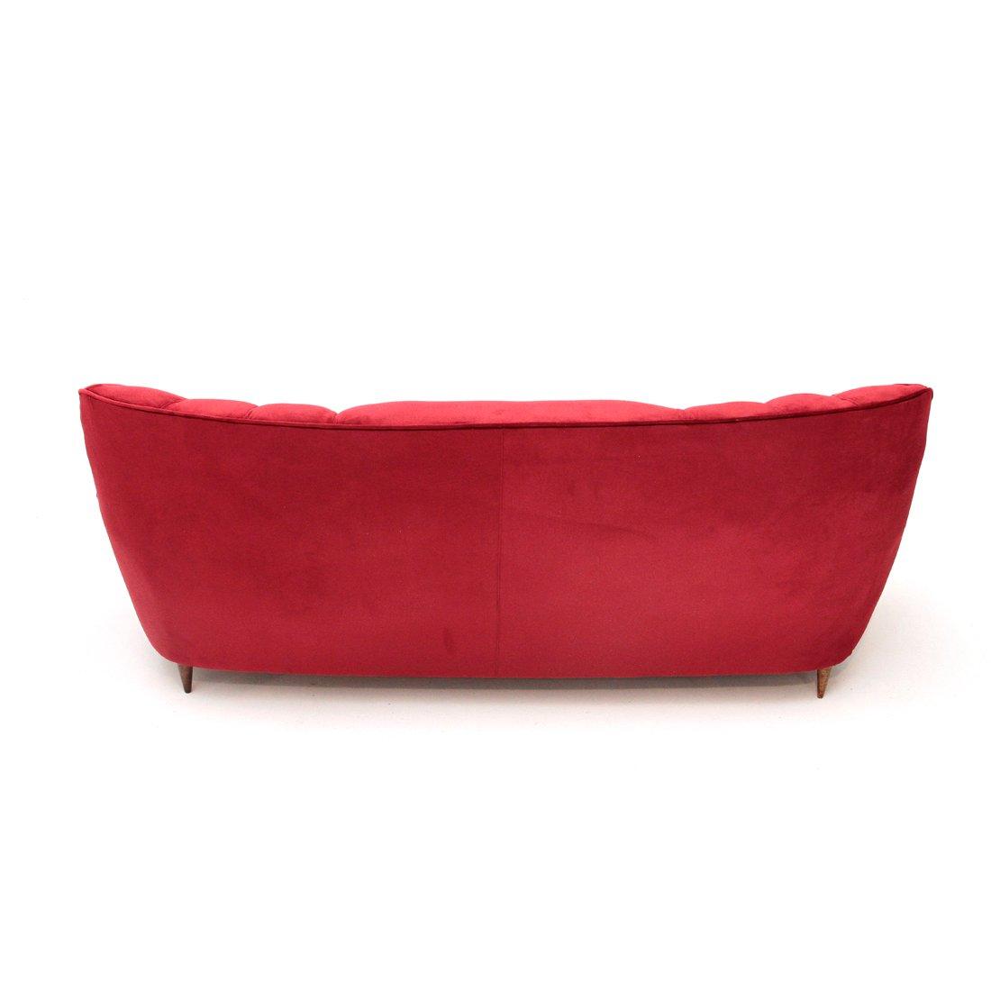 Italian red velvet sofa 1940s