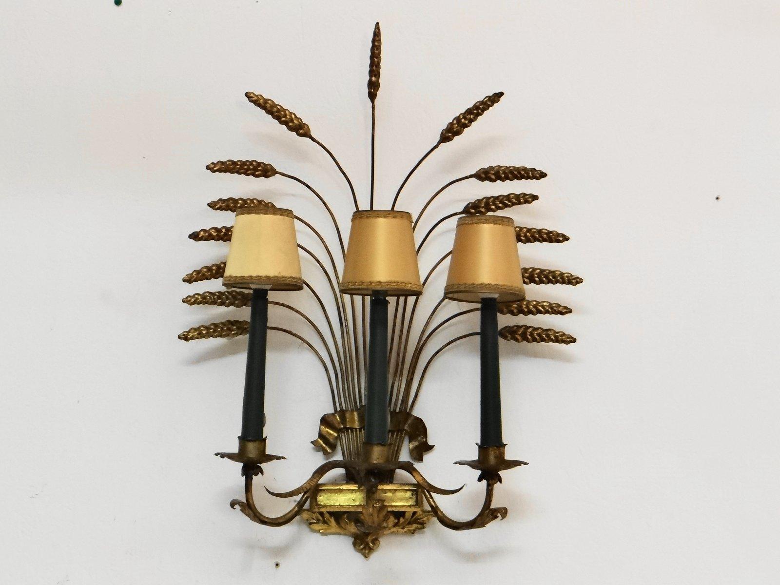 Vergoldete Vintage Wandlampe in Mais-Optik