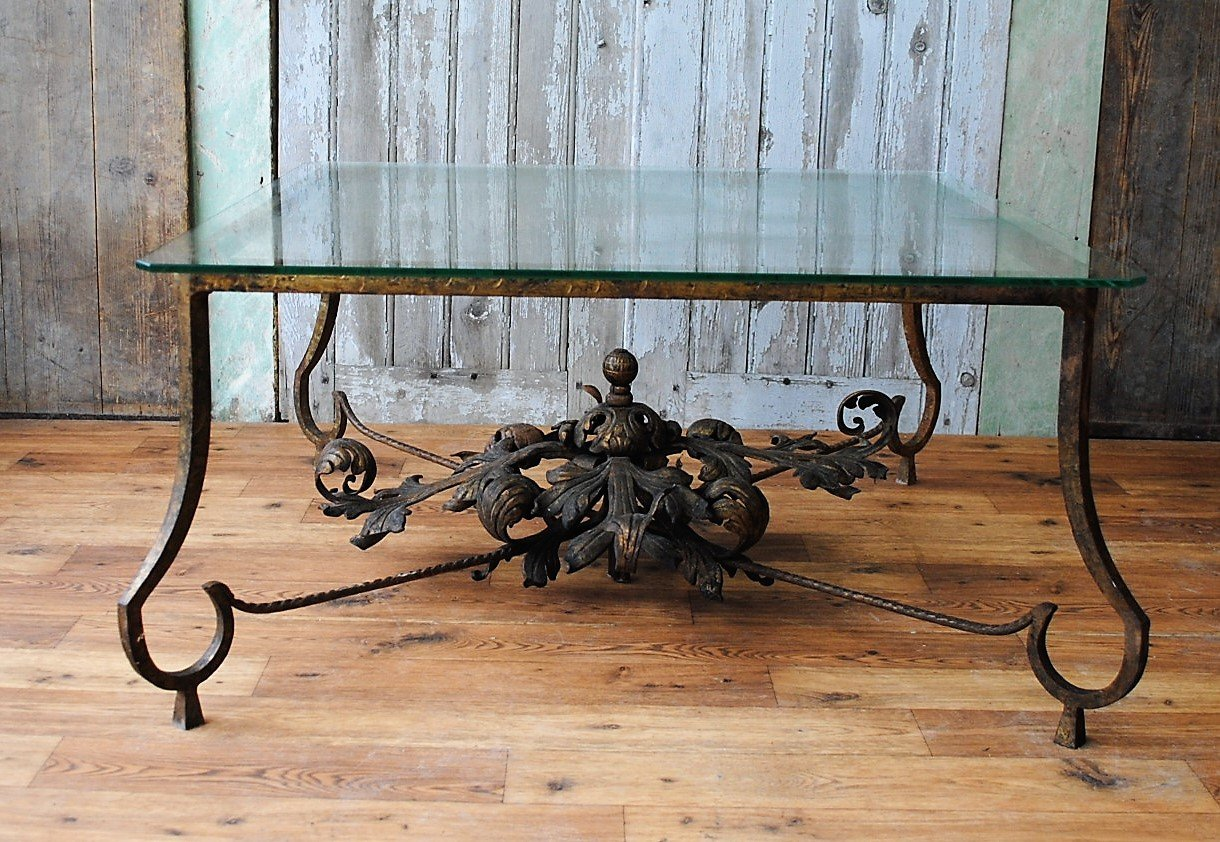 Antique Spanish Gilded Iron Coffee Table, 1900s