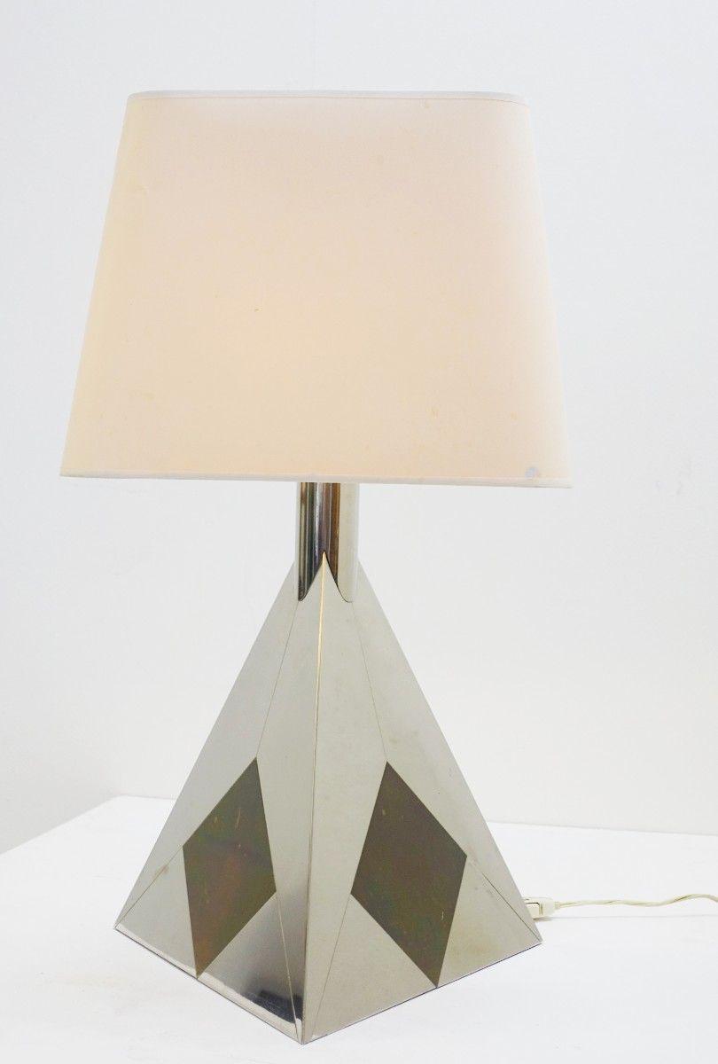 Pyramiden Tischlampen aus Chrom, 1970er, 2er Set