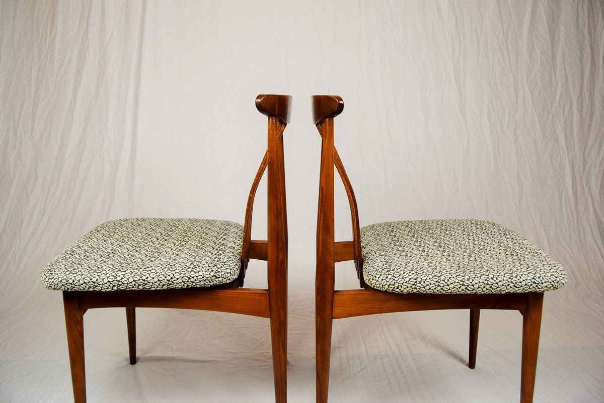 Beechwood dining chairs 1960s set of 4