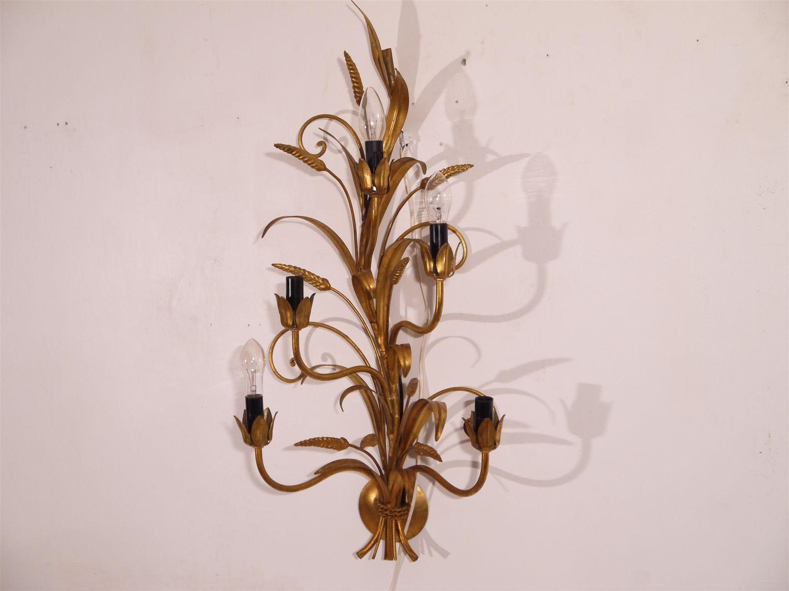 Große Vintage Wandleuchte in Weizen-Optik