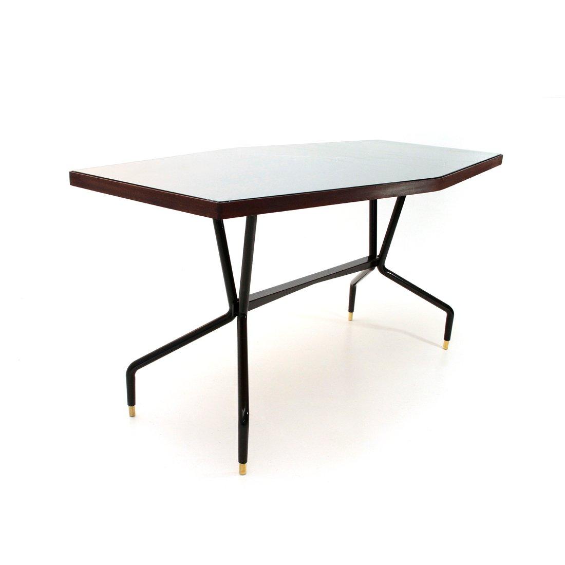 Esstisch aus teak glas 1950er bei pamono kaufen for Esstisch aus glas