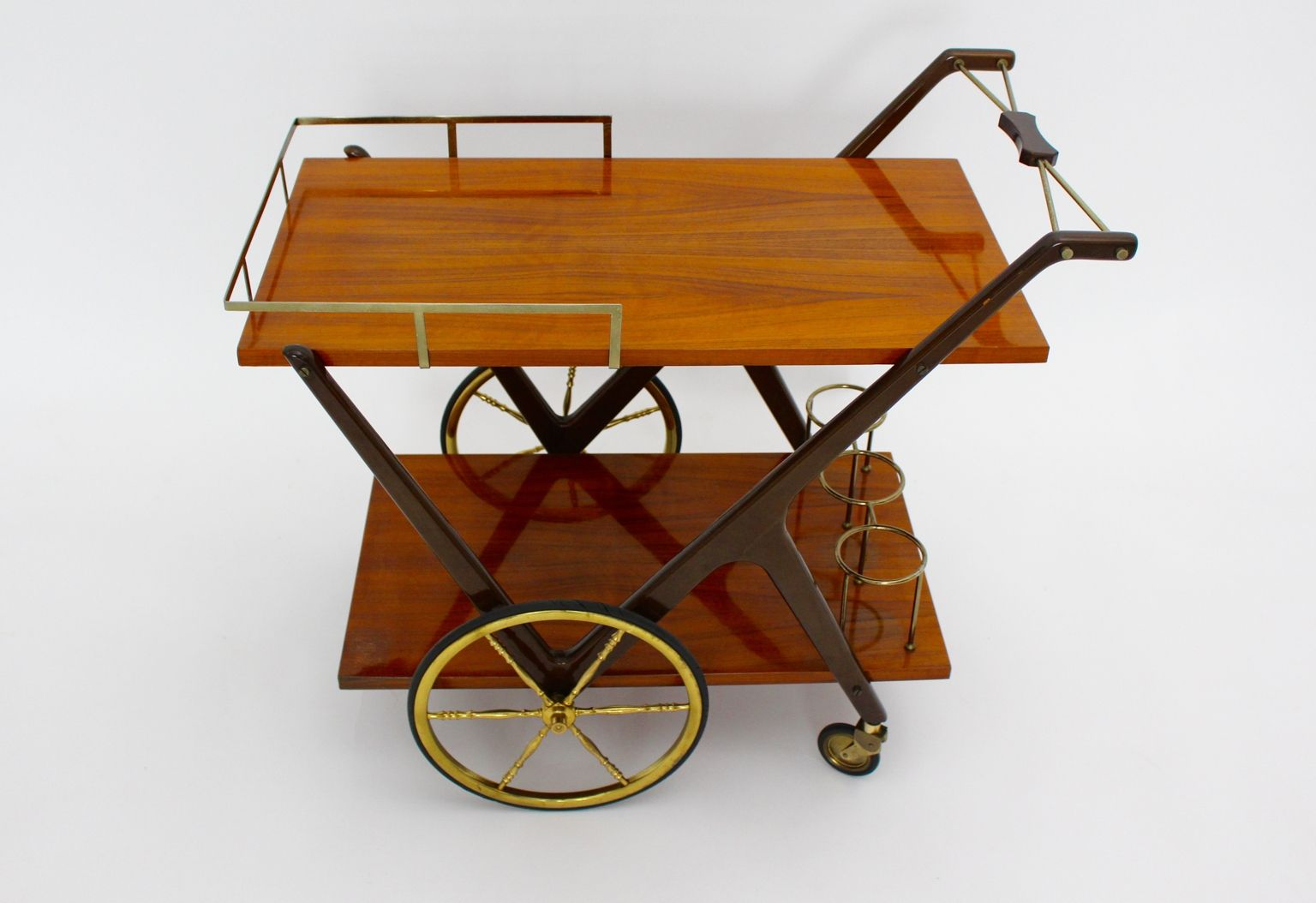 Vintage Italian Bar Cart By Cesare Lacca 1950s