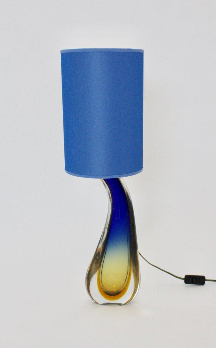 Blaue Italienische Mid-Century Tischlampe aus Glas von Flavio Poli für...