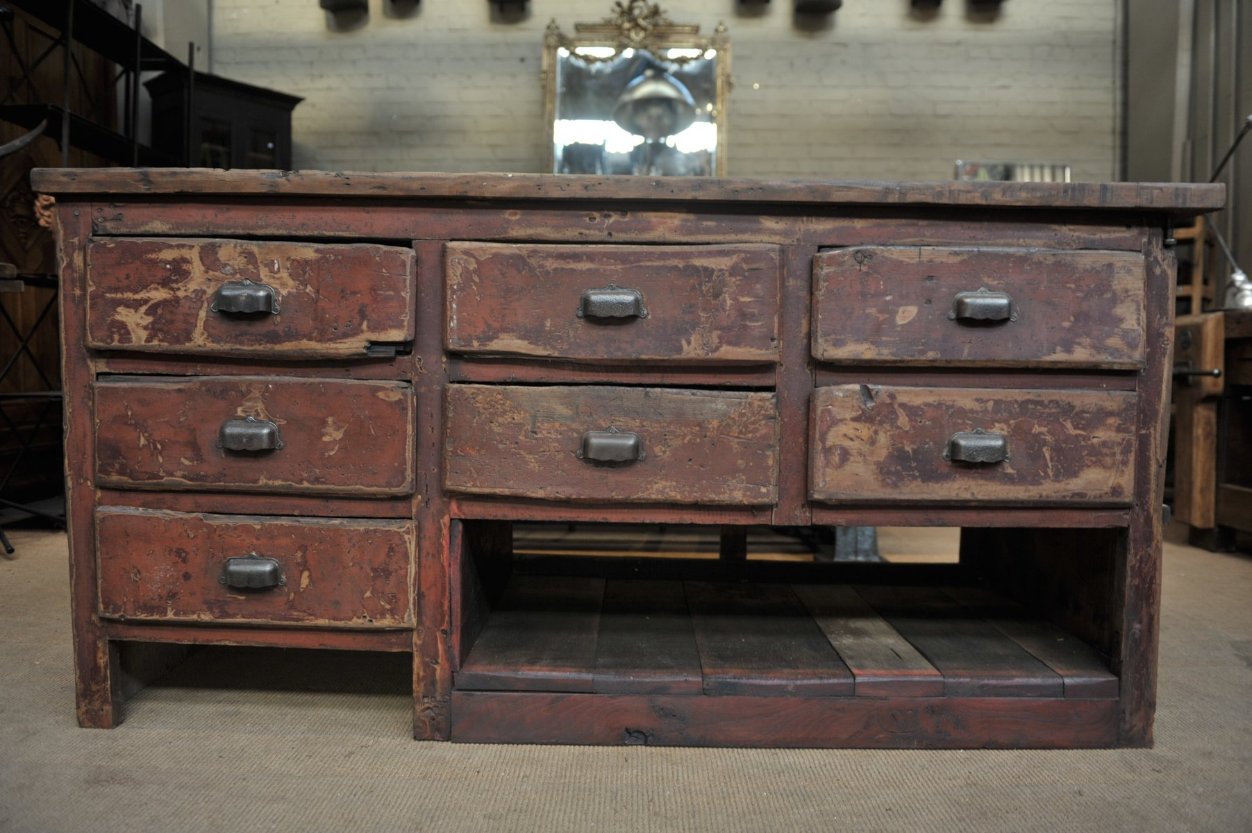 Vintage Industrial Fir Workbench With Drawers, 1920s