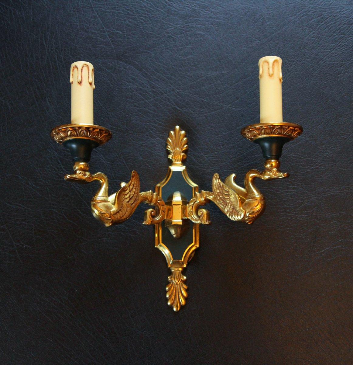 Wandleuchten aus vergoldeter Bronze von Lucien Gau, 1980er, 2er Set