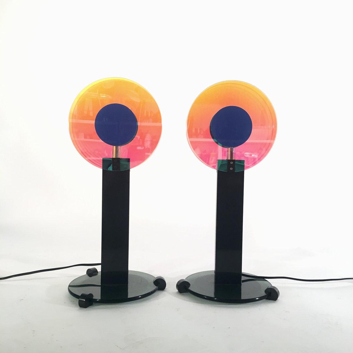 Disco Blue Tischlampen von Targetti, 1980er, 2er Set