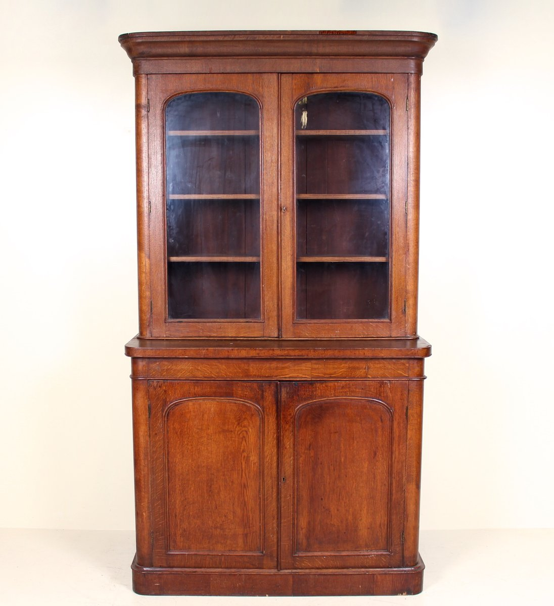 Large Antique Victorian Oak & Glass Display Cabinet - Large Antique Victorian Oak & Glass Display Cabinet For Sale At Pamono
