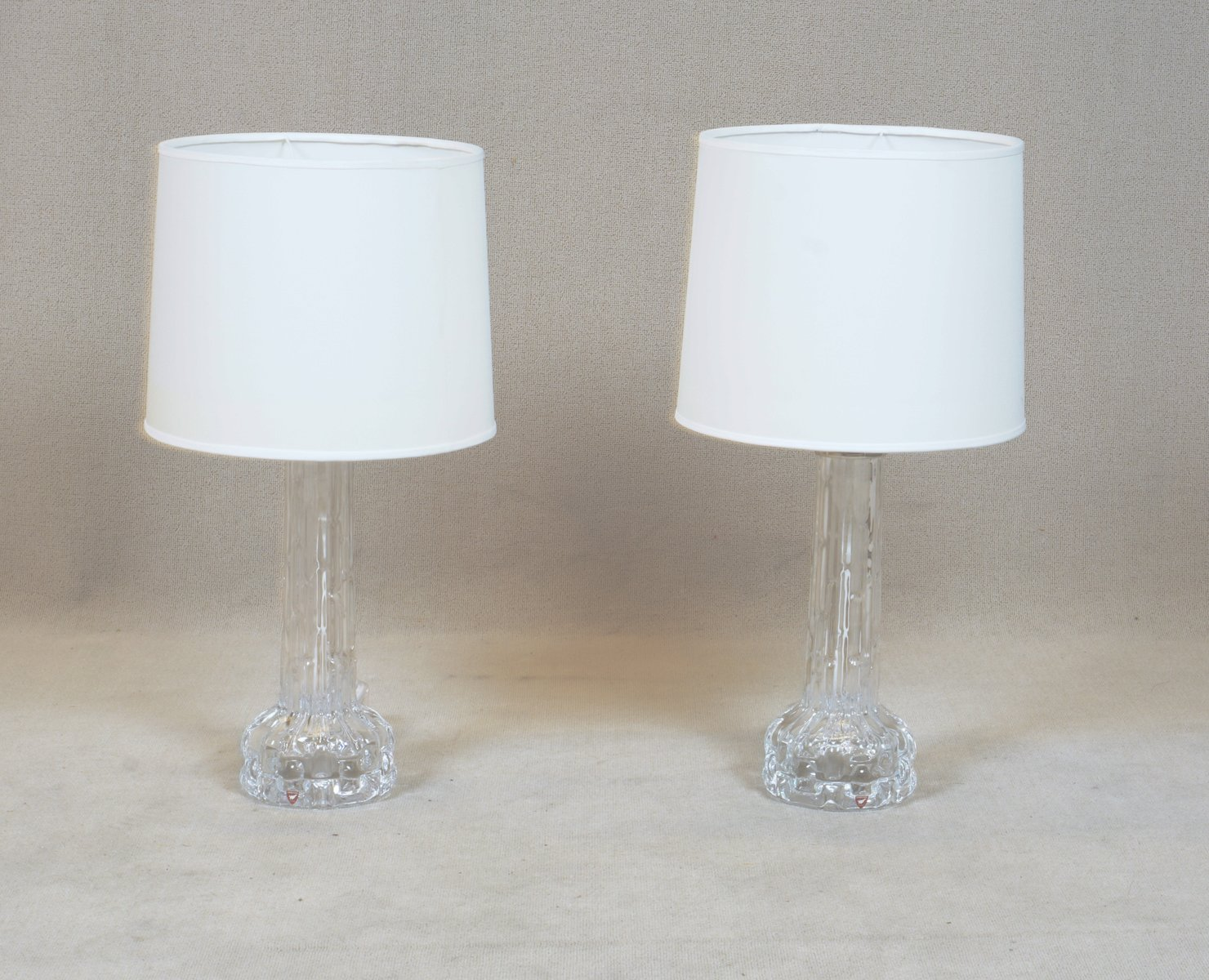 Tischlampen aus Gussglas von Carl Fagerlund für Orrefors, 1970er, 2er ...