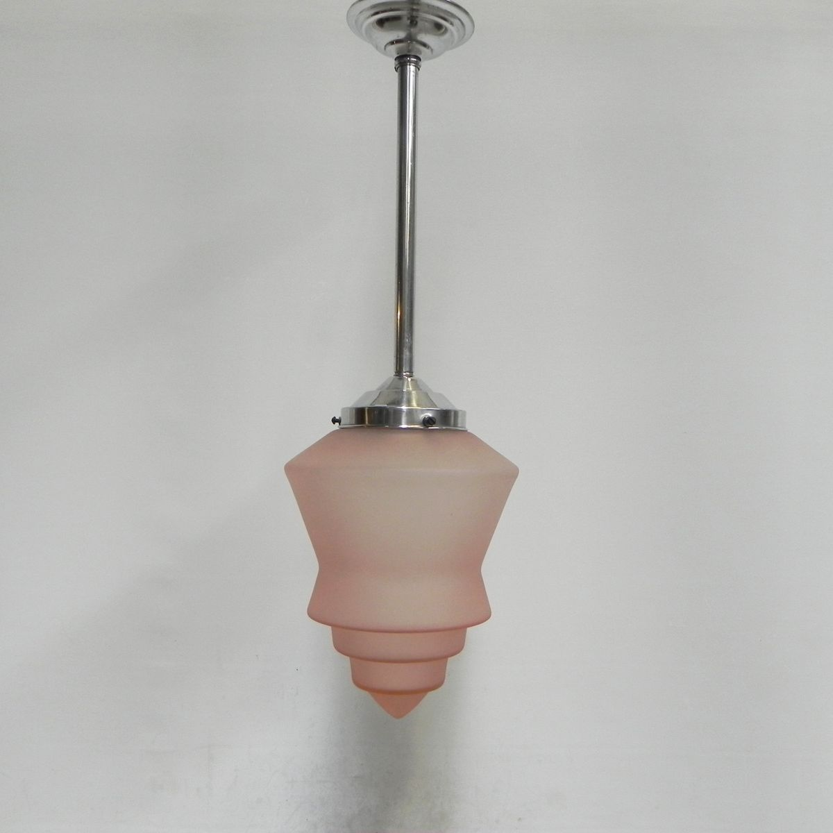 Art Deco Hanging Lamp With Pink Gl Shade