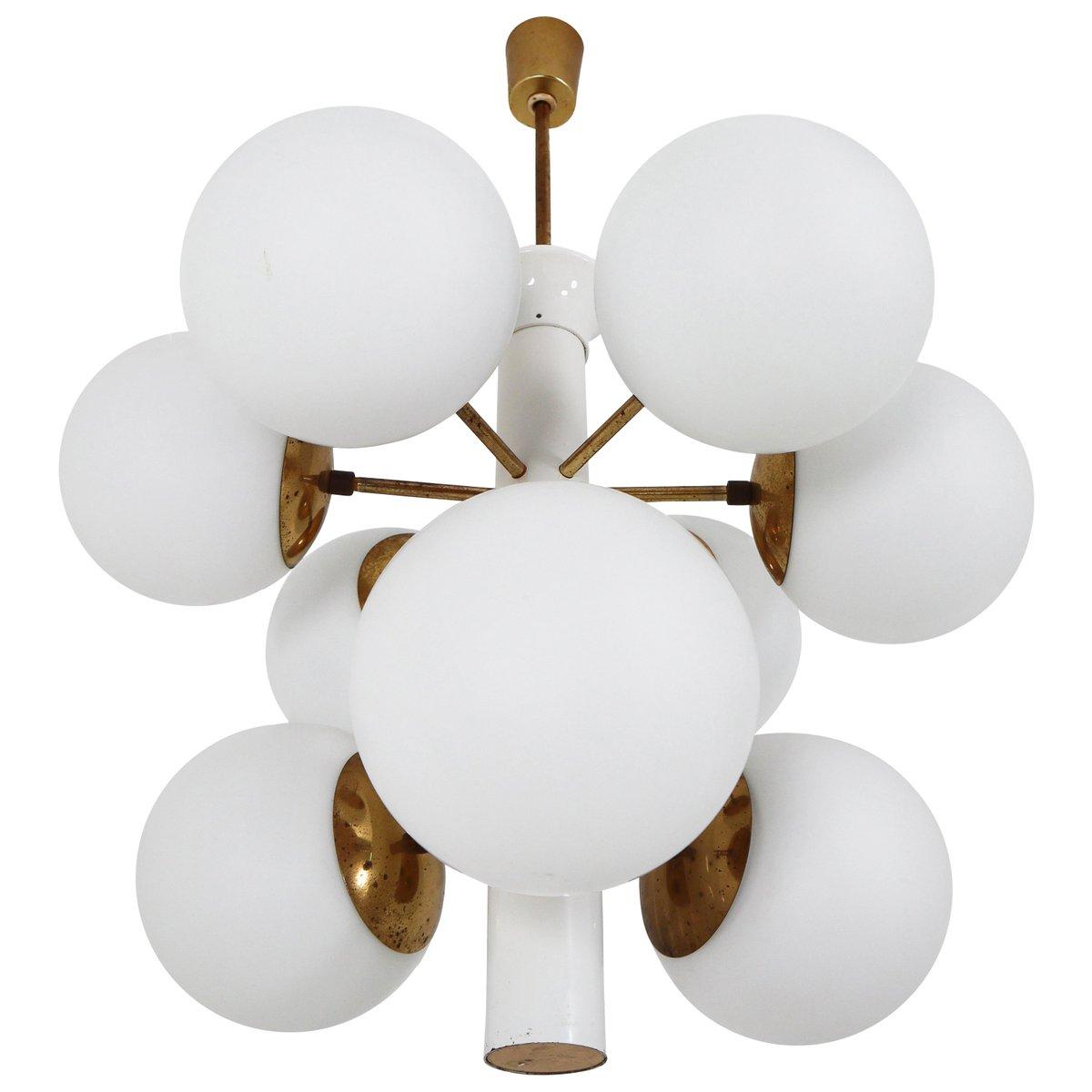 Mid-Century Sputnik Kronleuchter mit Opalglaskugeln