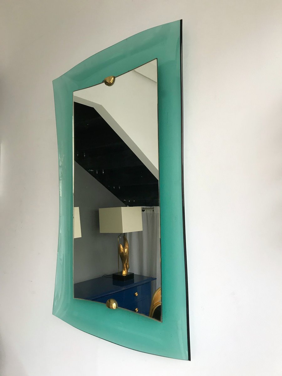 Italian Glass And Brass Mirror From Cristal Art 1960s For Sale At