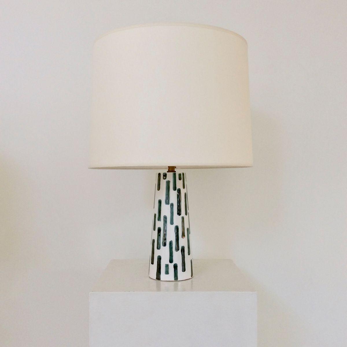 Tischlampe aus glasierter Keramik, 1950er