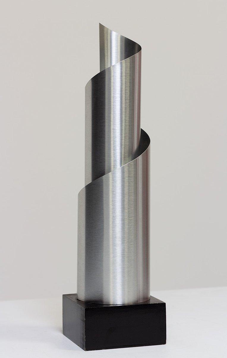 Spiralförmige Tischlampe aus gebogenem & gebürstetem Aluminium, 1970er