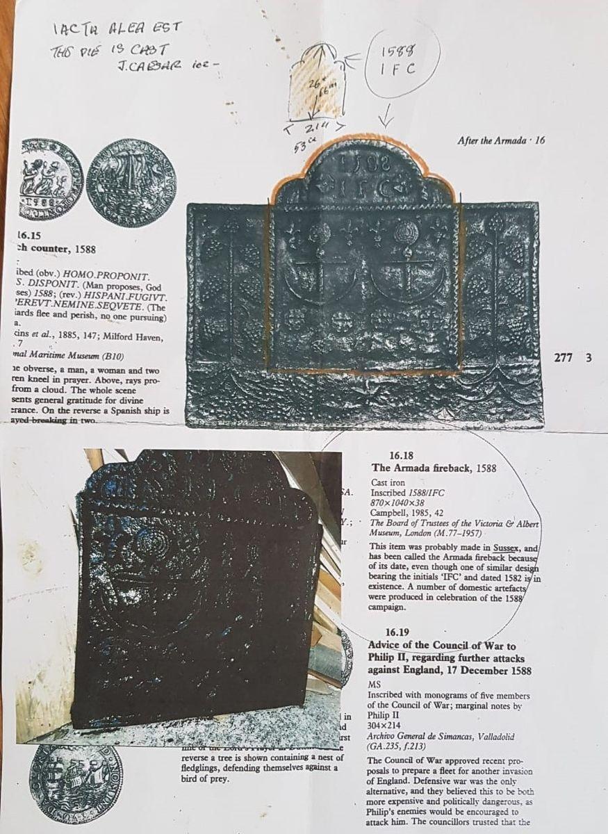 plaque de chemin e armada espagnole en fonte 1588 en. Black Bedroom Furniture Sets. Home Design Ideas
